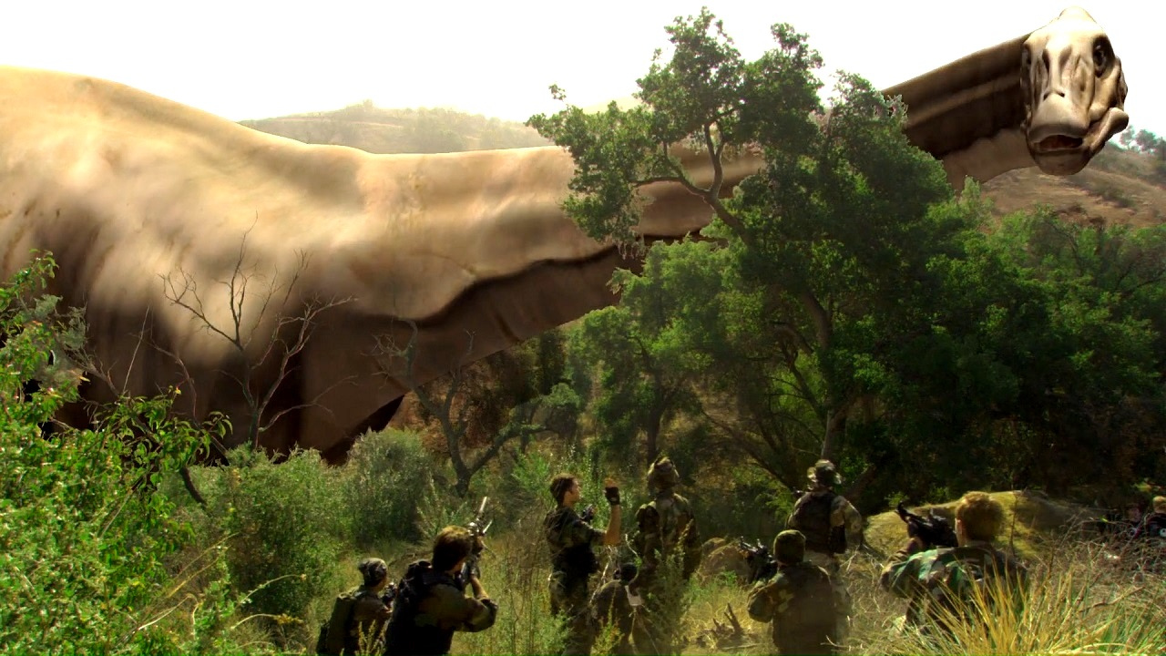 Soldiers vs dinosaurs in 100 Million BC (2008)
