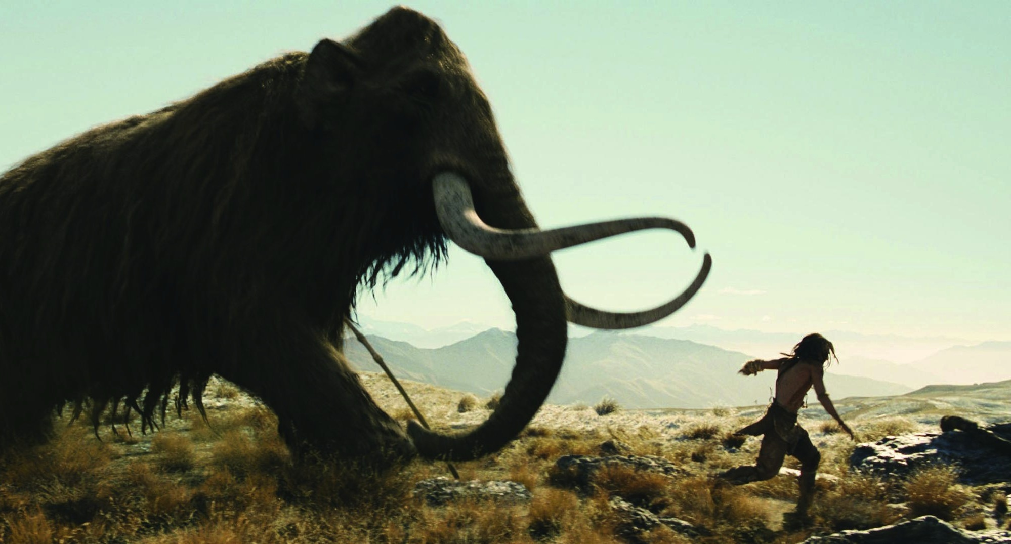 Steven Strait pursued by a mammoth in 10,000 BC (2008)