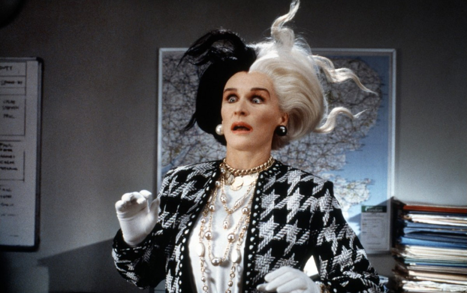 Glenn Close chewing scenery in grand style as Cruella De Ville in 101 Dalmatians (1996)
