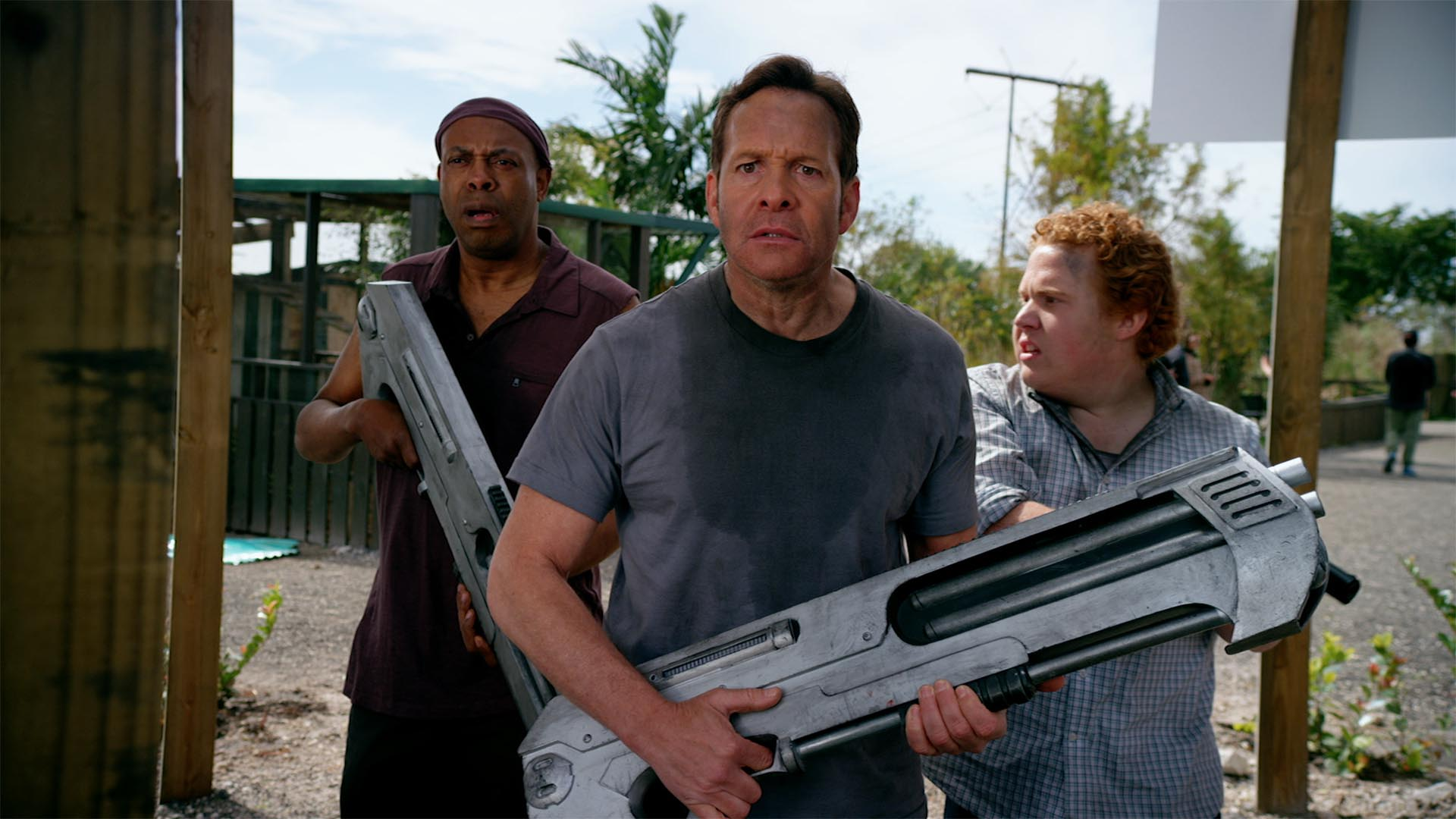 Back in action (l to r) Michael Winslow, Steve Guttenberg, Jimmy Bellinger in 2 Lava 2 Lantula (2016)