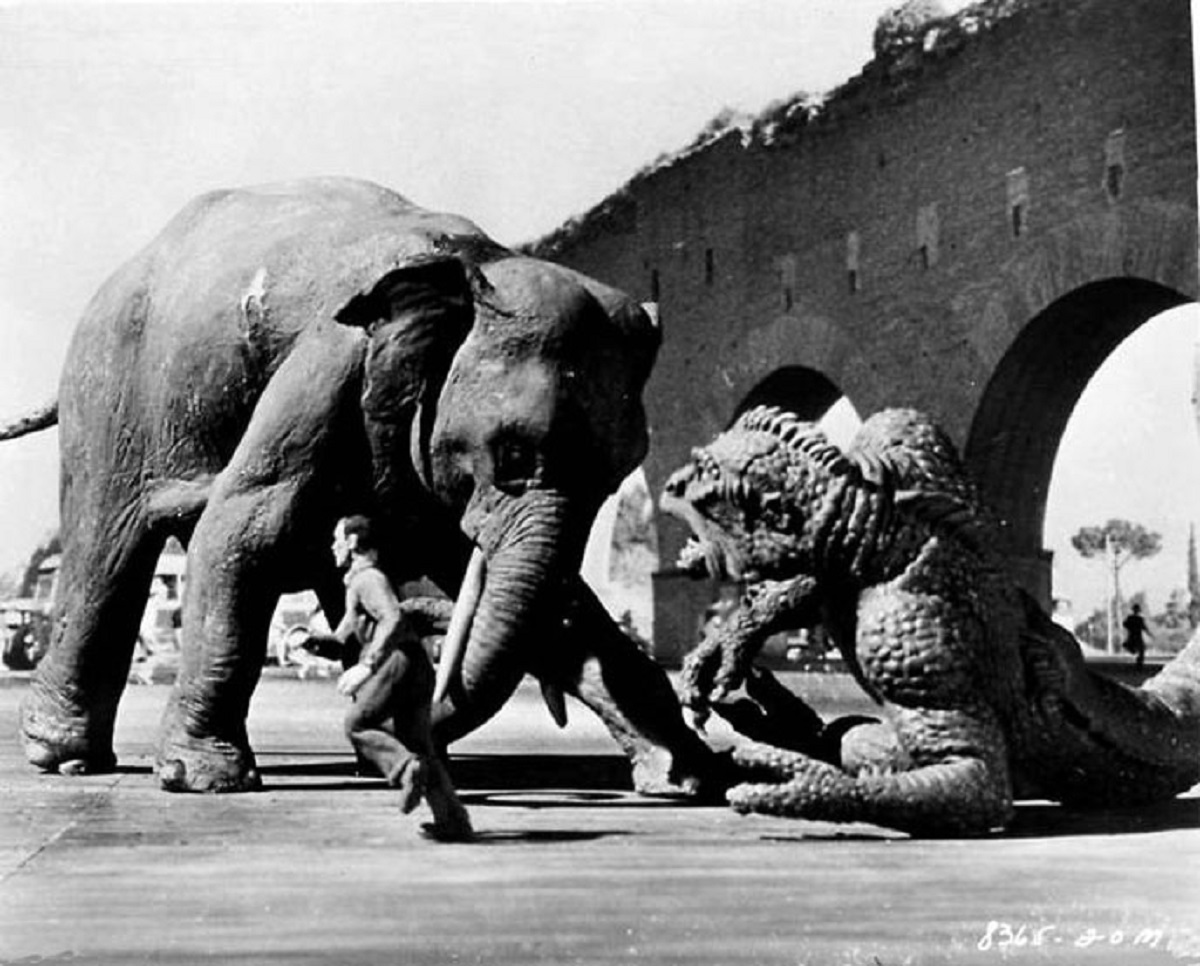 The Ymir battles an elephant in 20 Million Miles to Earth (1957)