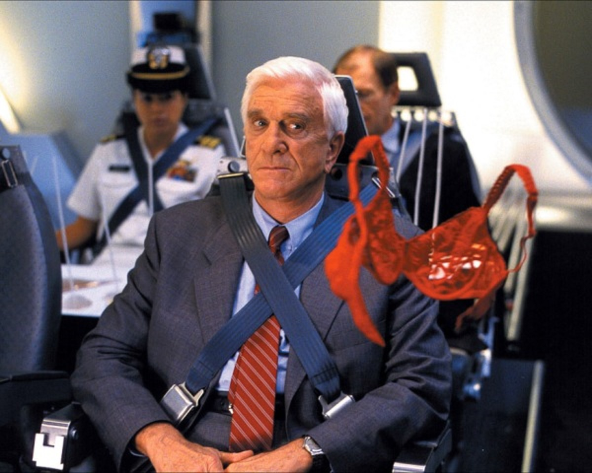 Leslie Nielsen in zero gravity in 2001: A Space Travesty (2000)
