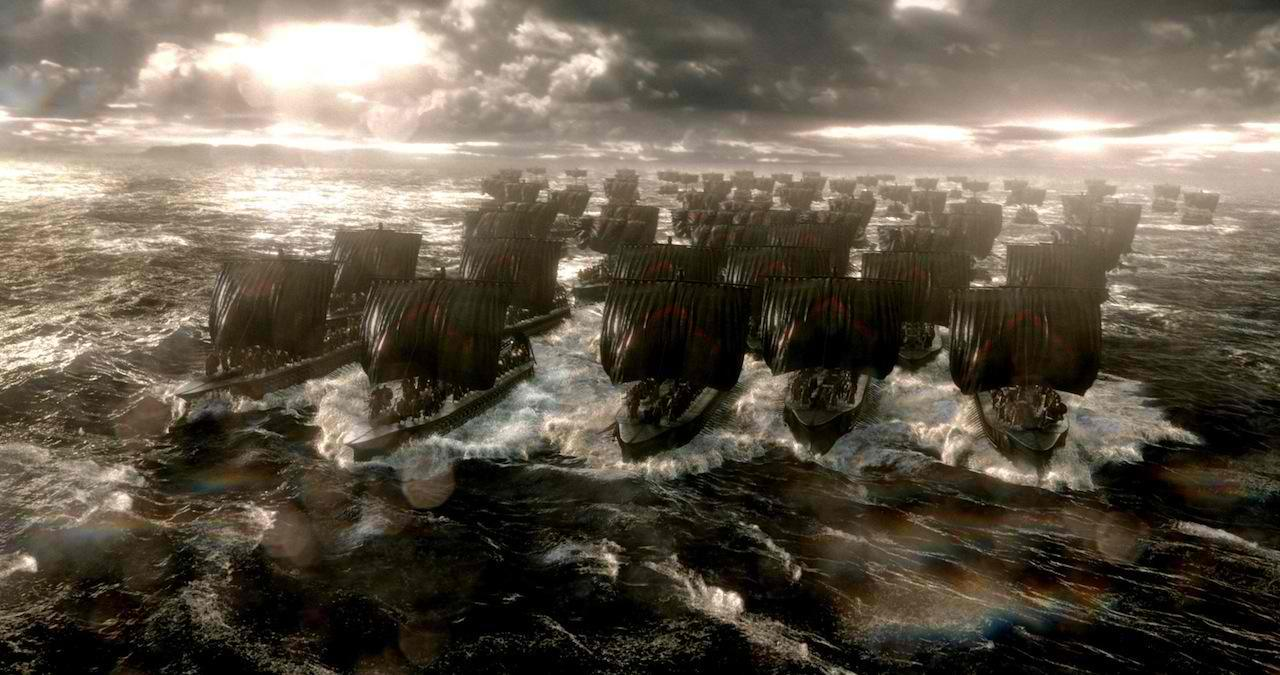 Massed naval battles in 300: Rise of an Empire (2014)