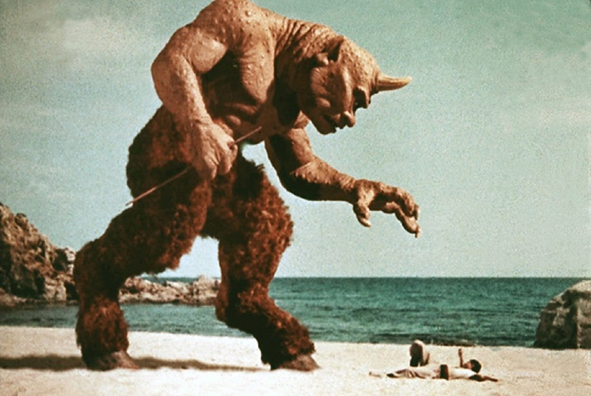 The attacks by the cyclops in The 7th Voyage of Sinbad (1958), Ray Harryhausen's stop motion animated creation