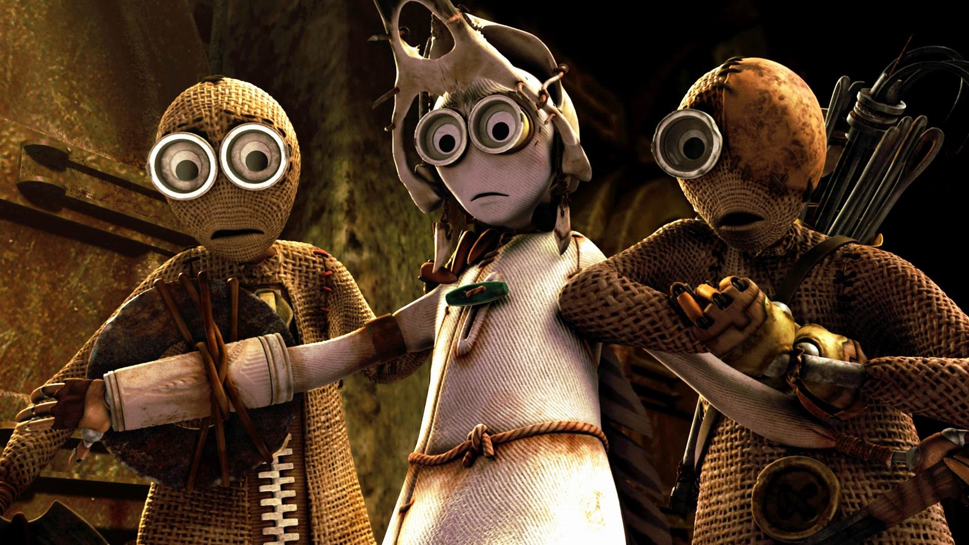 (l to r) 9 (voiced by Elijah Wood), 7 (voiced by Jennifer Connelly) and 5 (voiced by John C. Reilly) in 9 (2009)