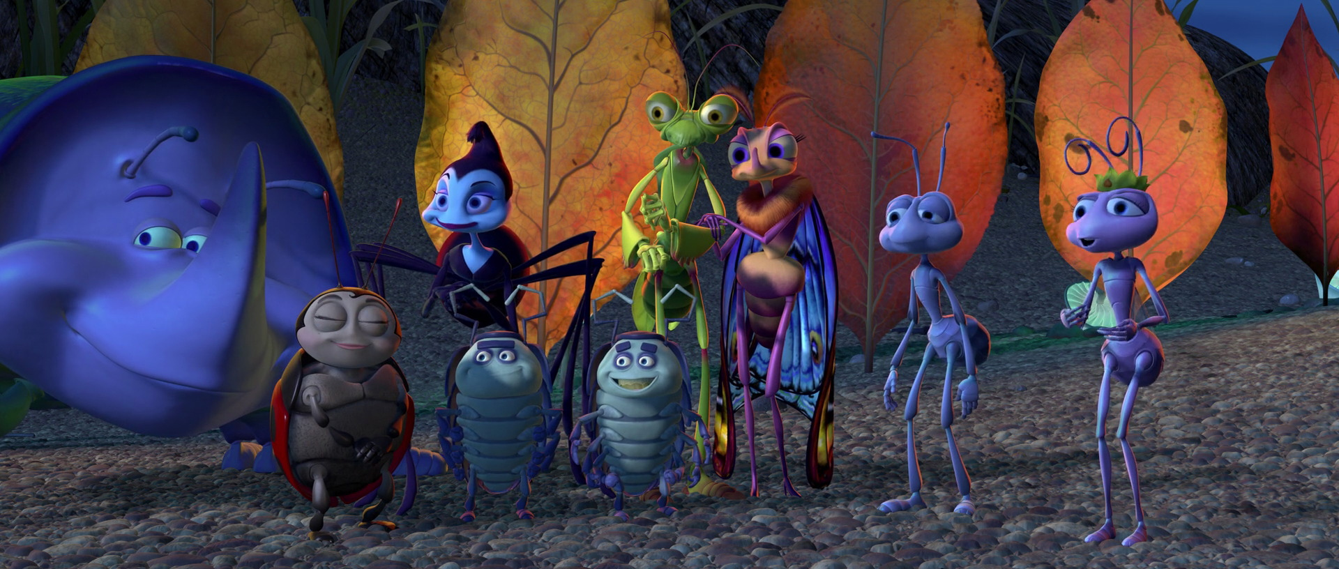 The troupe of circus insects in A Bug's Life (1998)