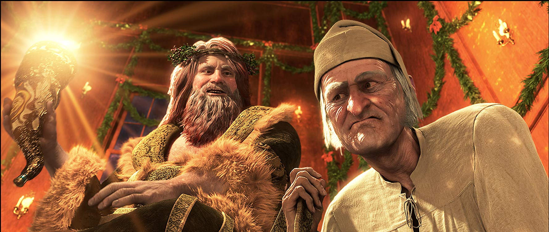 Scrooge is taken on a tour by the Ghost of Christmas Present in A Christmas Carol (2009)