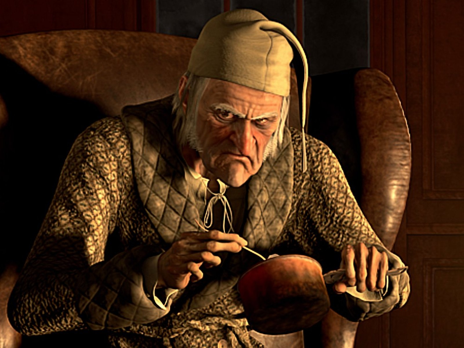 Jim Carrey as a motion-captured animated Scrooge in A Christmas Carol (2009)