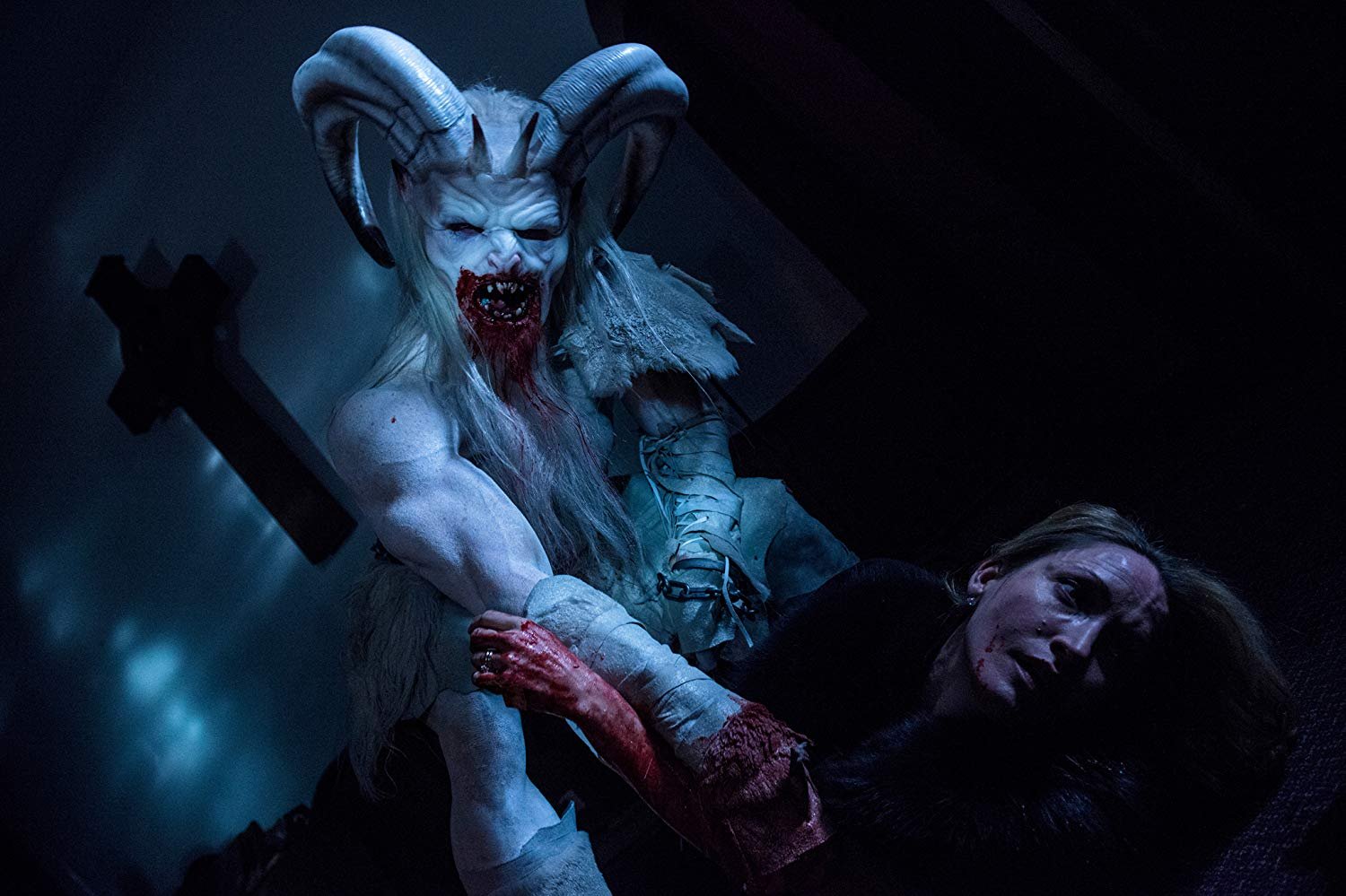 Michelle Nolden attacked by Krampus in A Christmas Horror Story (2015) poster