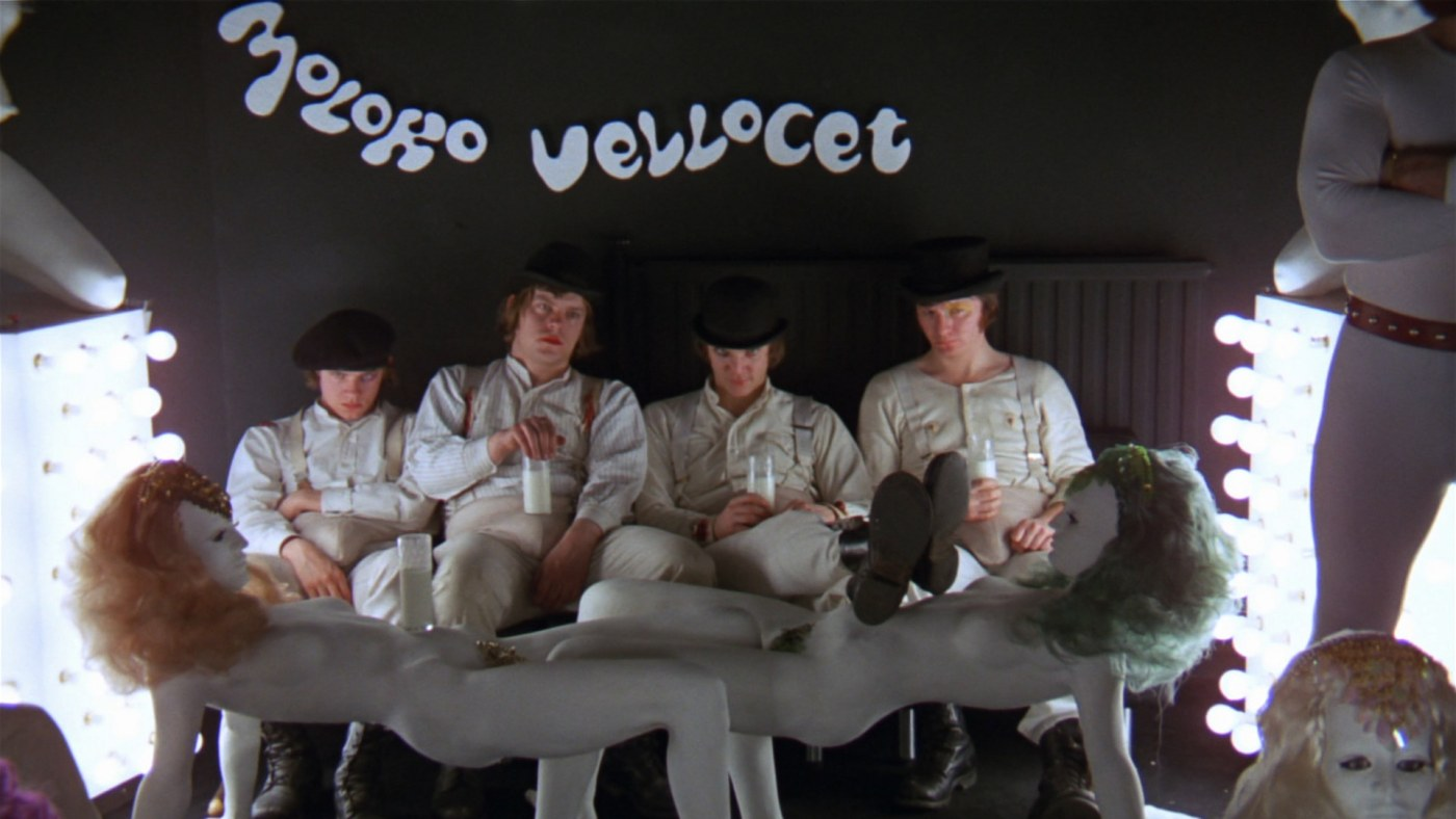 Alex (Malcolm McDowell) and the droogs at the Korova Milk Bar in A Clockwork Orange (1971) 2