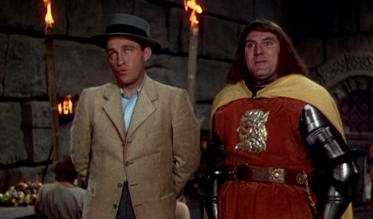 Bing Crosby as Hank Martin, a modern man thrown back to Camelot, and William Bendix as Sir Sagramore in A Connecticut Yankee in King Arthur's Court (1949)