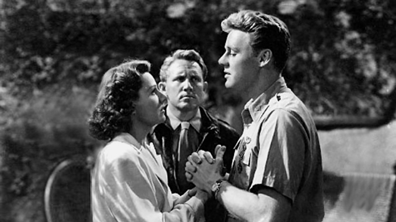 Guardian angel Spencer Tracy looks on as Van Johnson woos his girl Irene Dunne in A Guy Named Joe (1943)