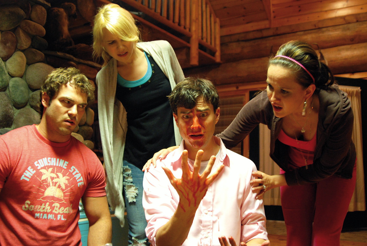 Best friend Shawn Roberts, sister Kristen Hager, the zombie infected groom Kristopher Turner and the fiancee Crystal Lowe in A Little Bit Zombie (2012)