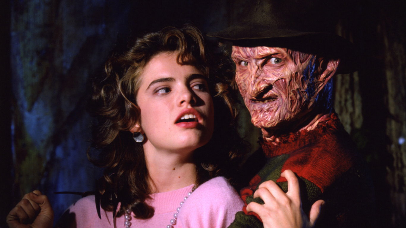 Nancy Thompson (Heather Langenkamp) and Freddy Krueger (Robert Englund) in A Nightmare on Elm Street (1984)