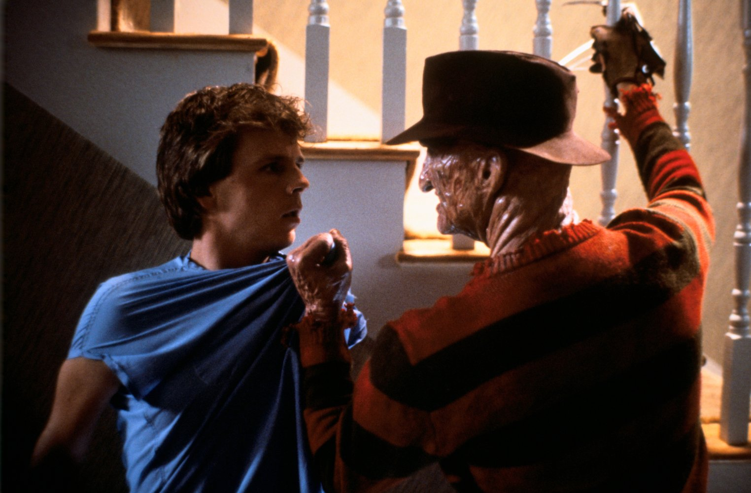 Jesse Walsh (Mark Patton) and Freddy Krueger (Robert Englund) in A Nightmare on Elm Street Part II :Freddy's Revenge (1985)