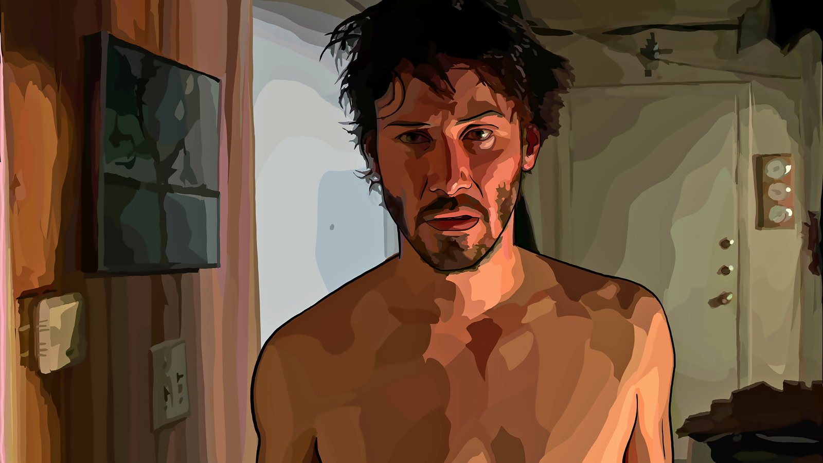 An animated Keanu Reeves in A Scanner Darkly (2006)