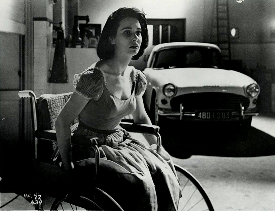 A wheelchair-ridden Susan Strasberg in A Taste of Fear (1961)