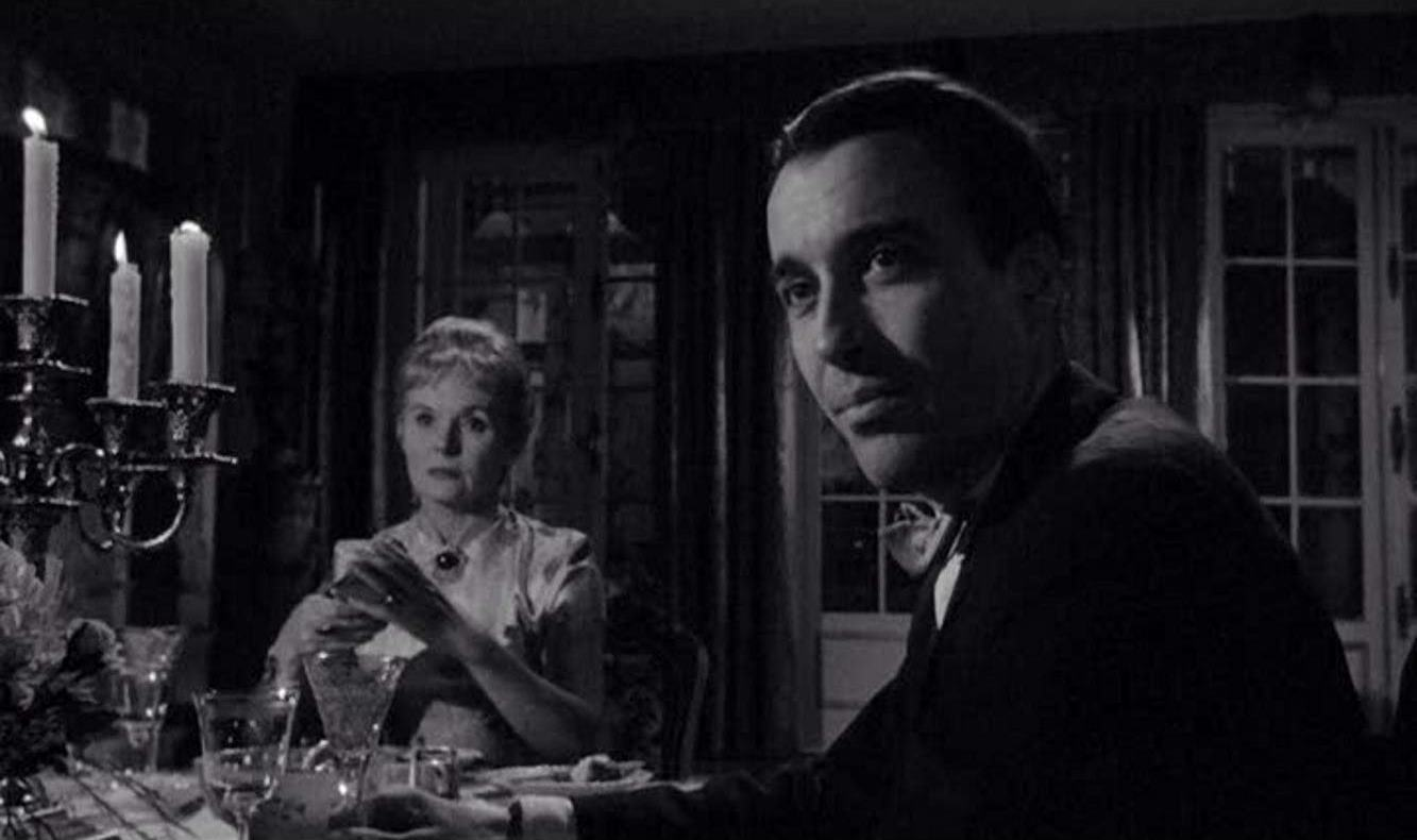 Stepmother Ann Todd and family doctor Christopher Lee in A Taste of Fear (1961)