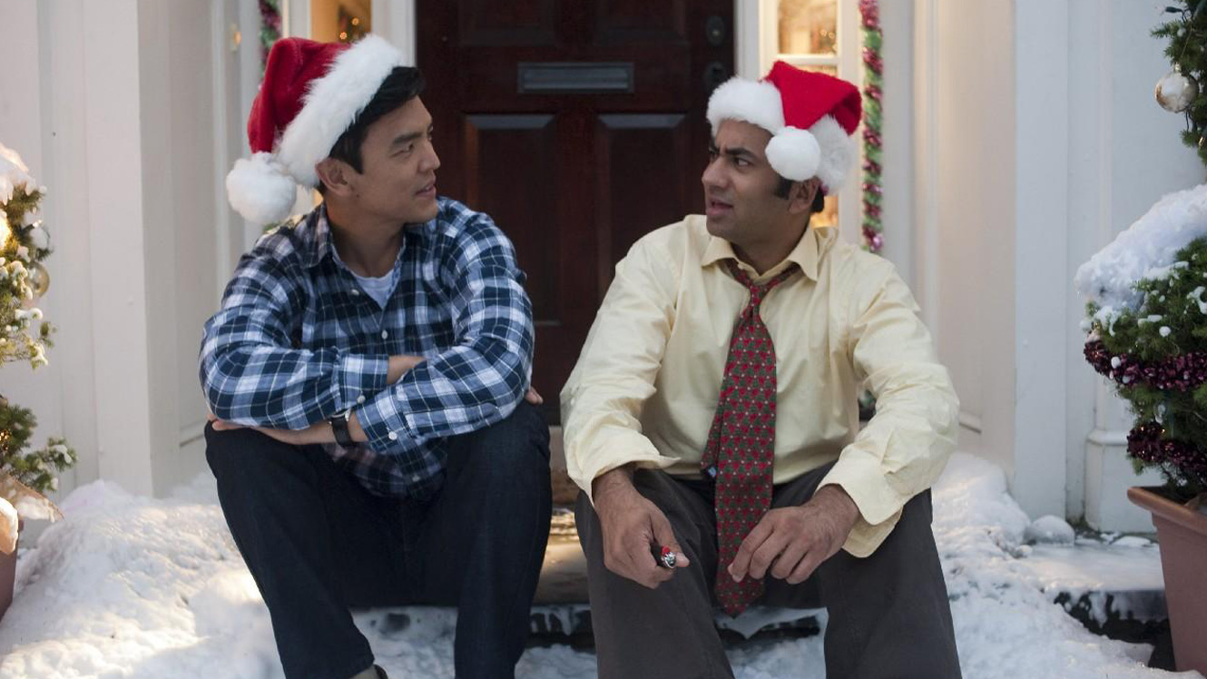 Harold (John Cho) and Kumar (Kal Penn) reuniting their friendship in A Very Harold and Kumar 3D Christmas (2011)