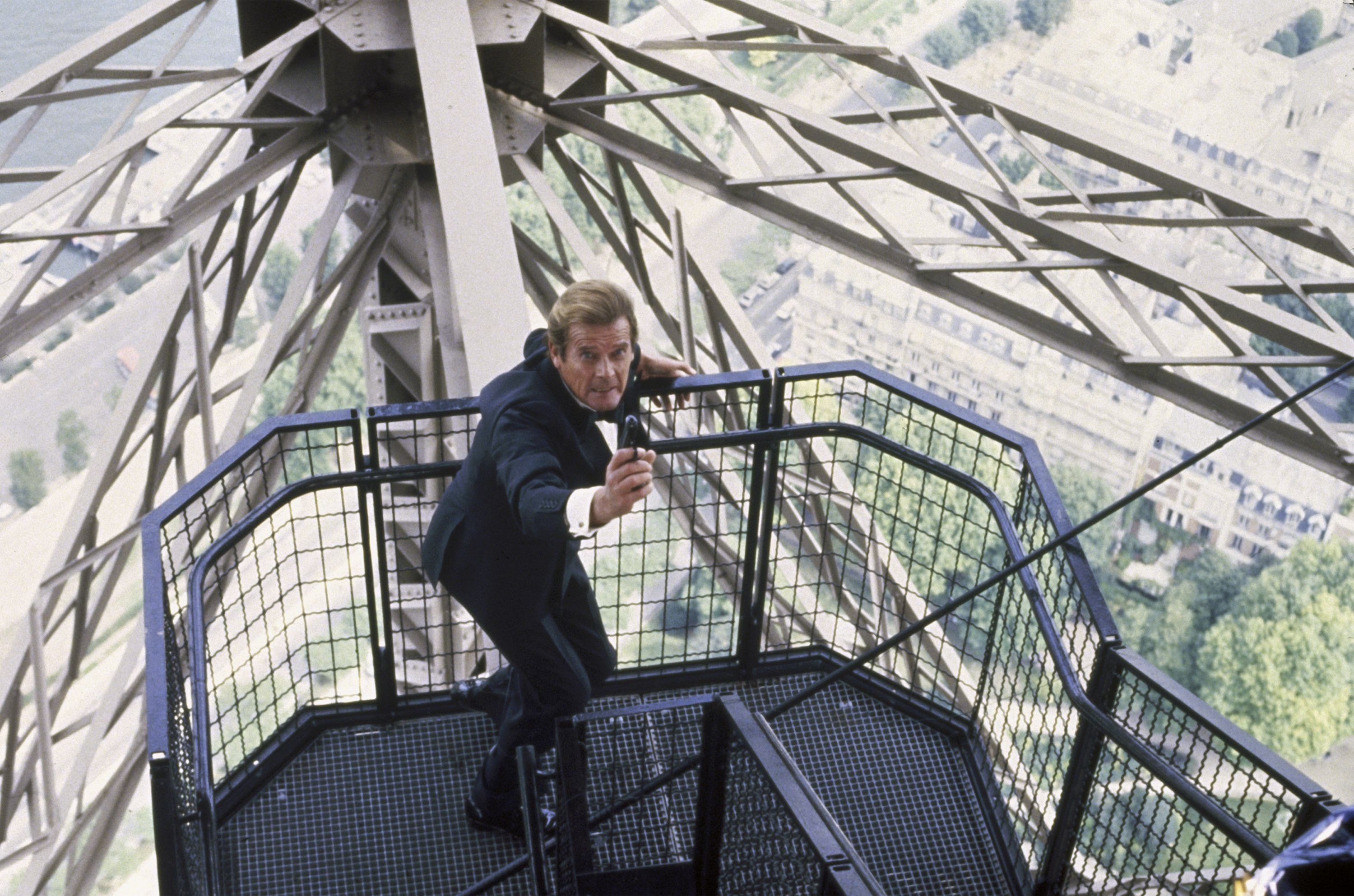 Roger Moore in his final outing as James Bond at the Eiffel Tower in A View to a Kill (1985)