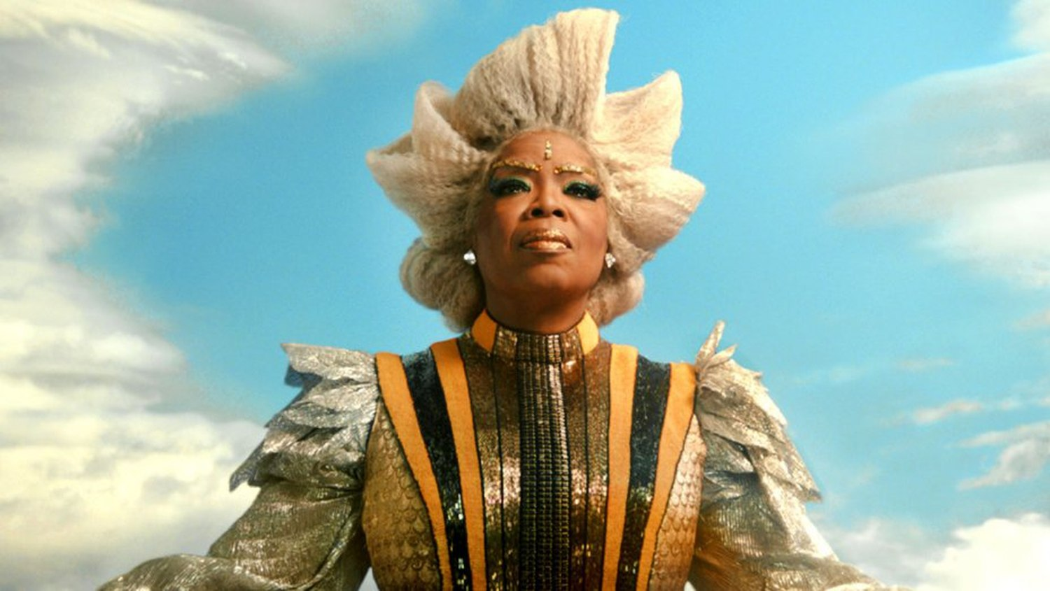 A ridiculously over-costumed Oprah Winfrey as Mrs Which in A Wrinkle in Time (2018)