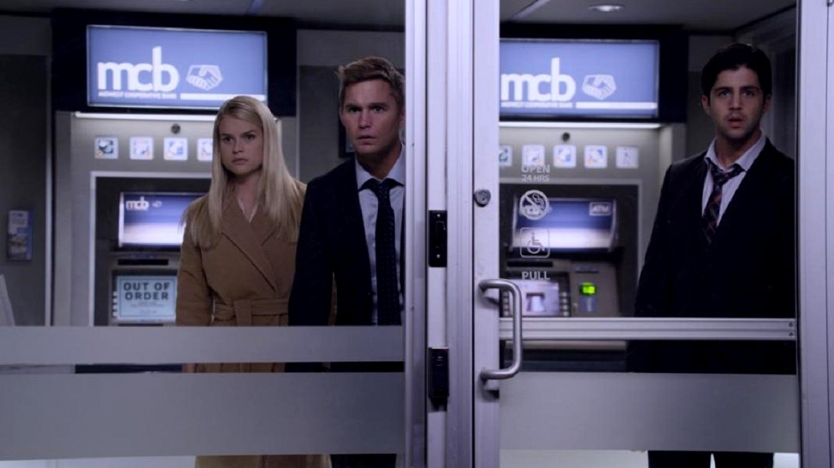 Trapped in an ATM booth - (l to r) Alice Eve, Brian Geraghty and Josh Peck in ATM (2012)