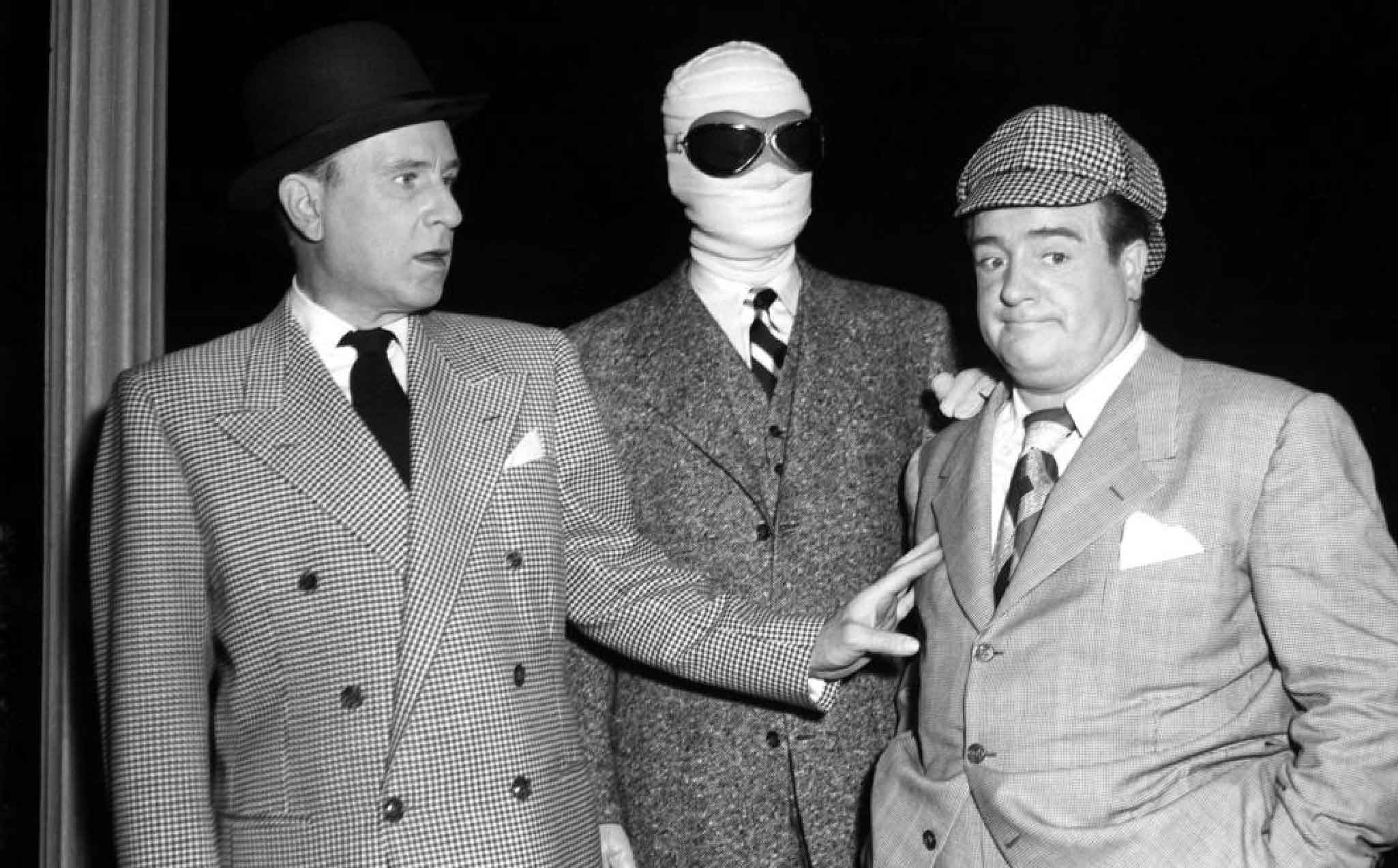 (l to r) Bud Abbott, The Invisible Man (Arthur Franz) and Lou Costello in Abbott and Costello Meet the Invisible Man (1951)