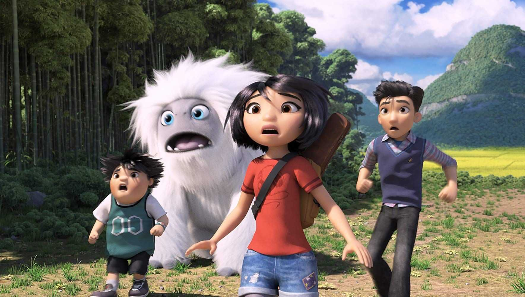 (l to r) Peng, Everest the Yei, Yi and Jin on their journey across China in Abominable (2019)