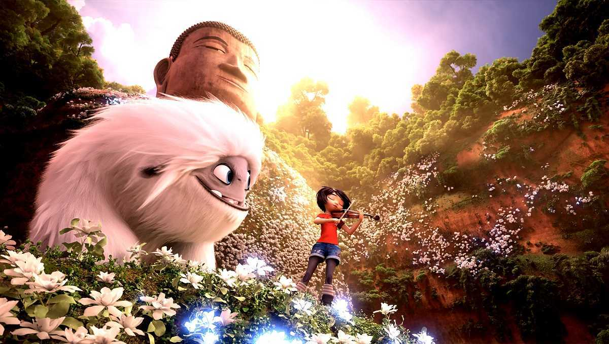 Yi plays violin on the Leshan Giant Buddha in Abominable (2019)