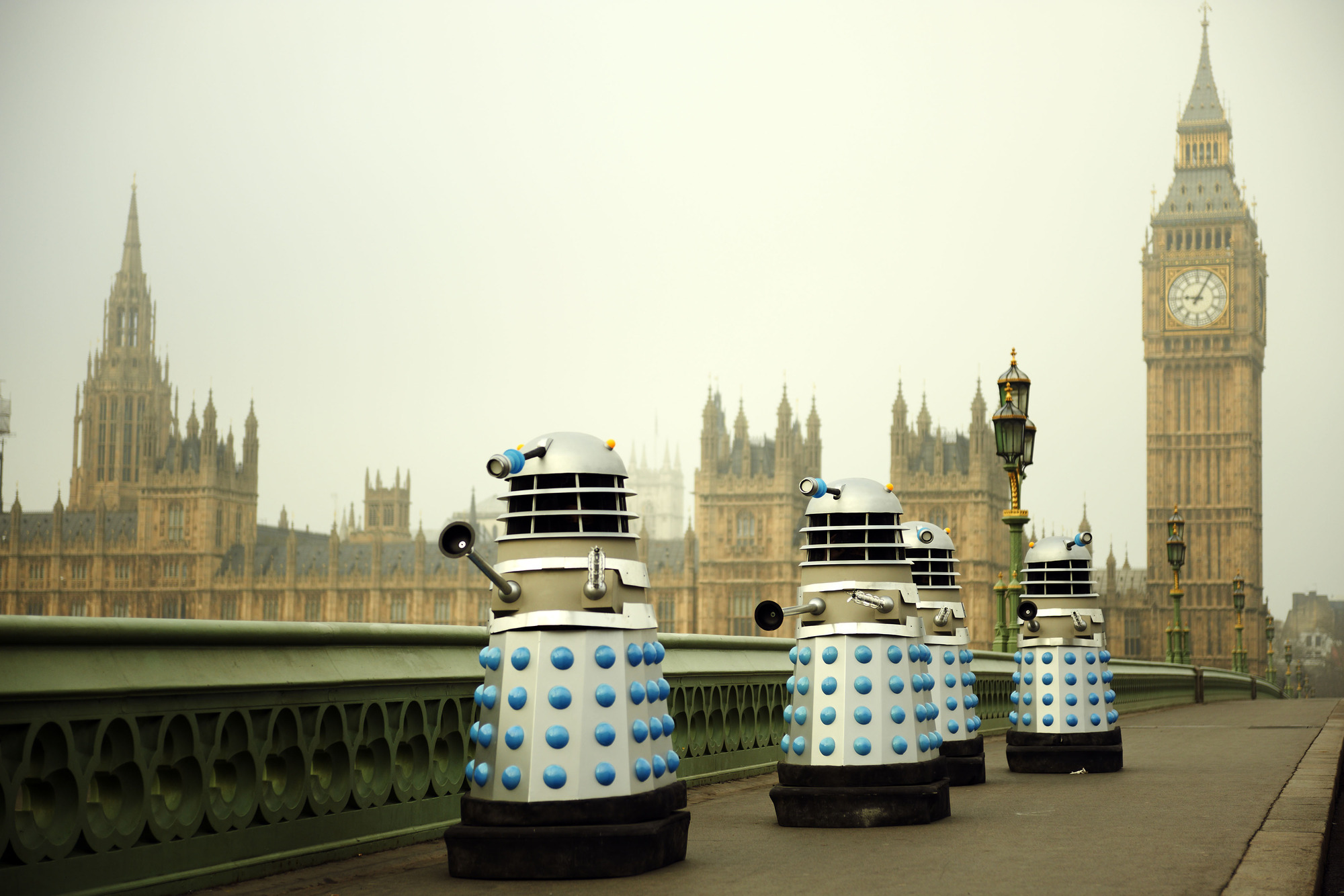 Recreation of the scene with The Daleks passing before the Houses of Parliament in An Adventure in Space and Time (2013)