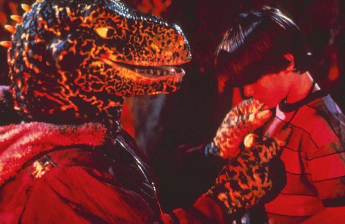 Omri Katz and dinosaur friend in Adventures in Dinosaur City (1991)