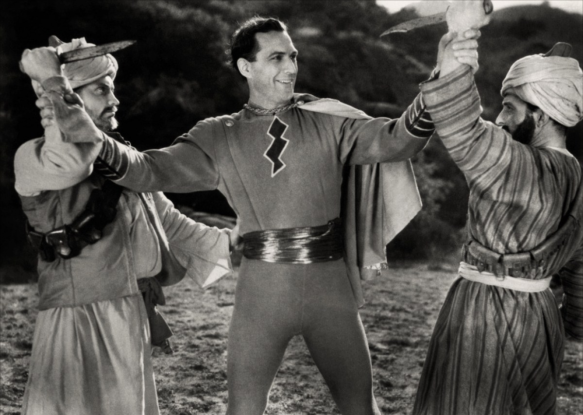 Captain Marvel (Tom Tyler) in action in Adventures of Captain Marvel (1941)