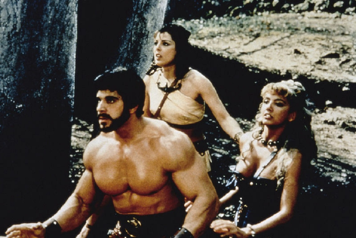 (l to r) Hercules (Lou Ferrigno), Sonia Viviani and Milly Carlucci in The Adventures of Hercules (1985)