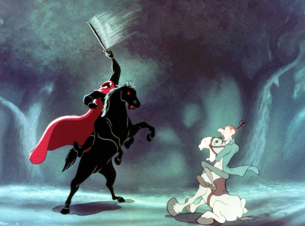 Ichabod Crane encounters the Headless Horseman of The Adventures of Ichabod and Mr. Toad (1949)