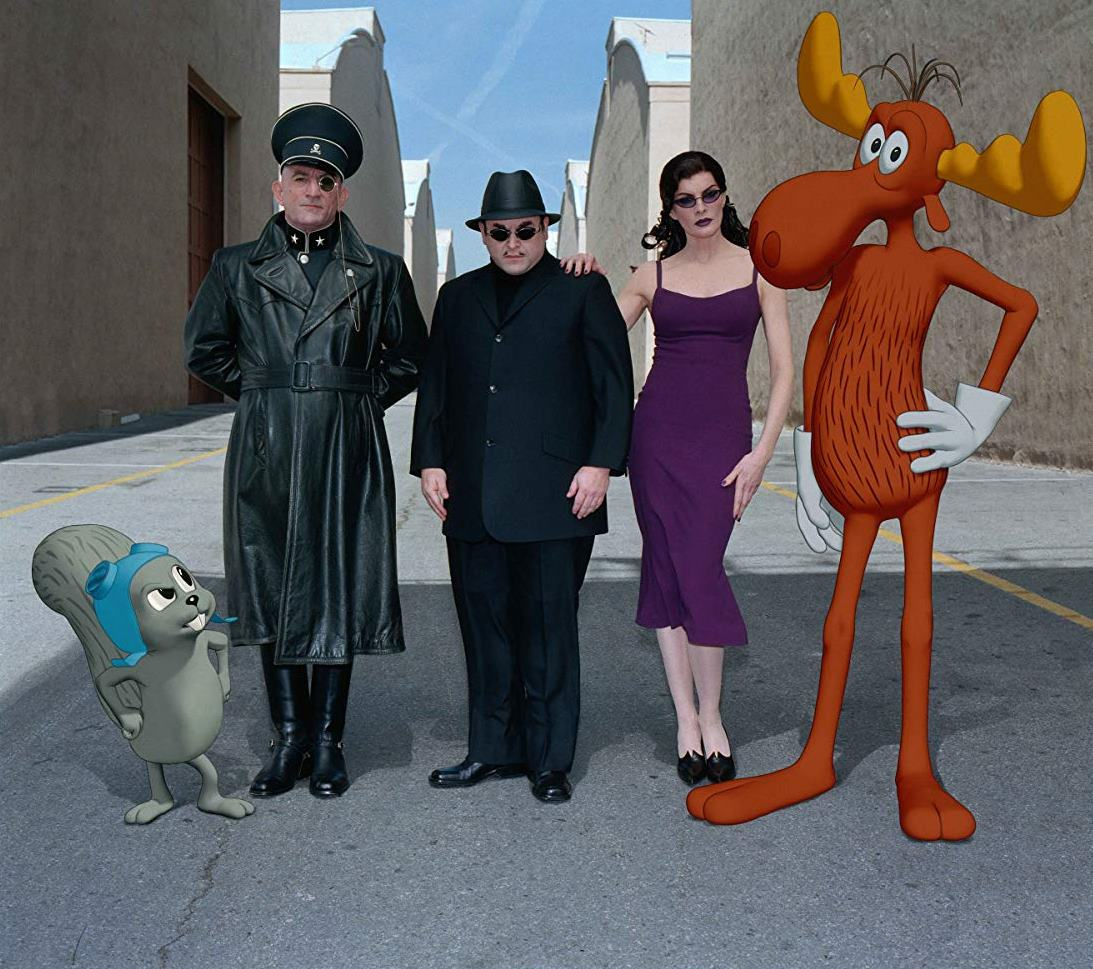 (l to r) Rocky J. Squirrel, Fearless Leader (Robert De Niro), Boris (Jason Alexander), Natasha (Rene Russo) and Bullwinkle J. Moose in The Adventures of Rocky and Bullwinkle (2000)