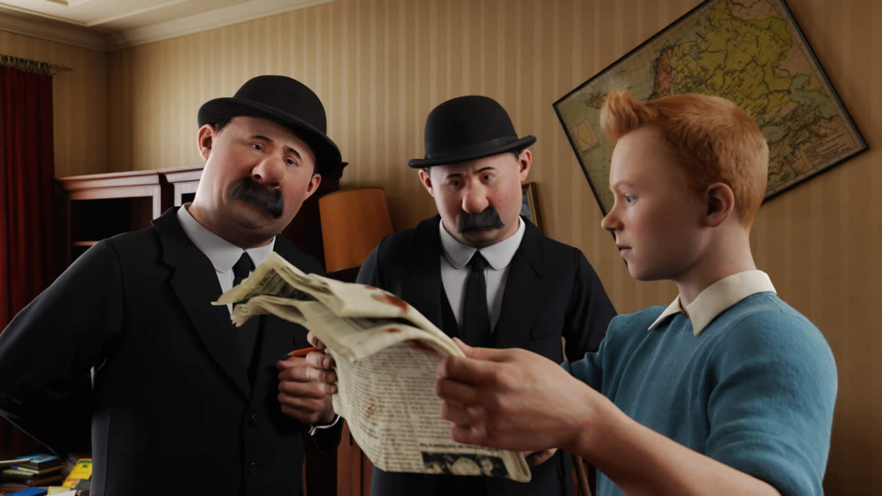 Tintin with Thompson and Thomson in The Adventures of Tintin (2011)