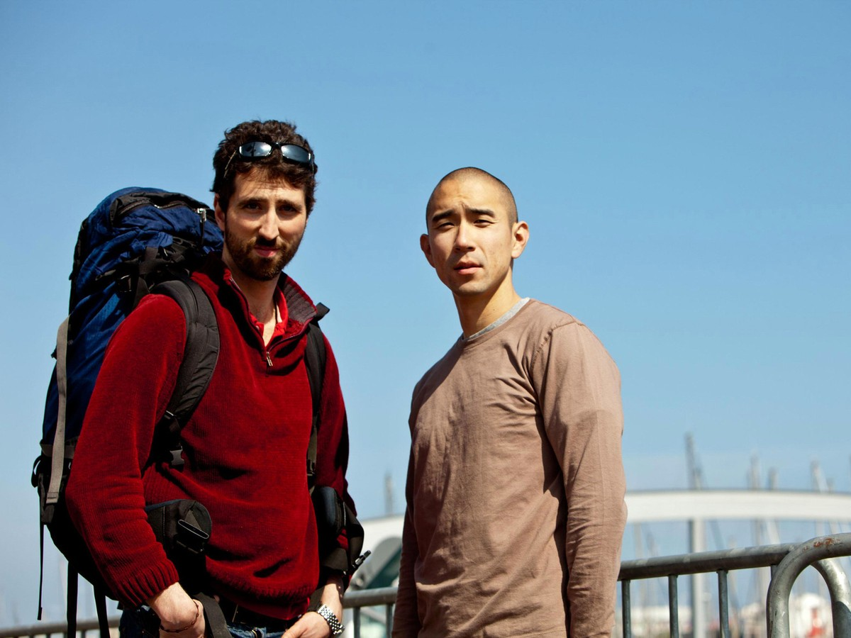Best friends (and the film's co-directors) (l to r) Clif Prowse and Derek Lee on a backpacking tour of Europe in Afflicted (2013)