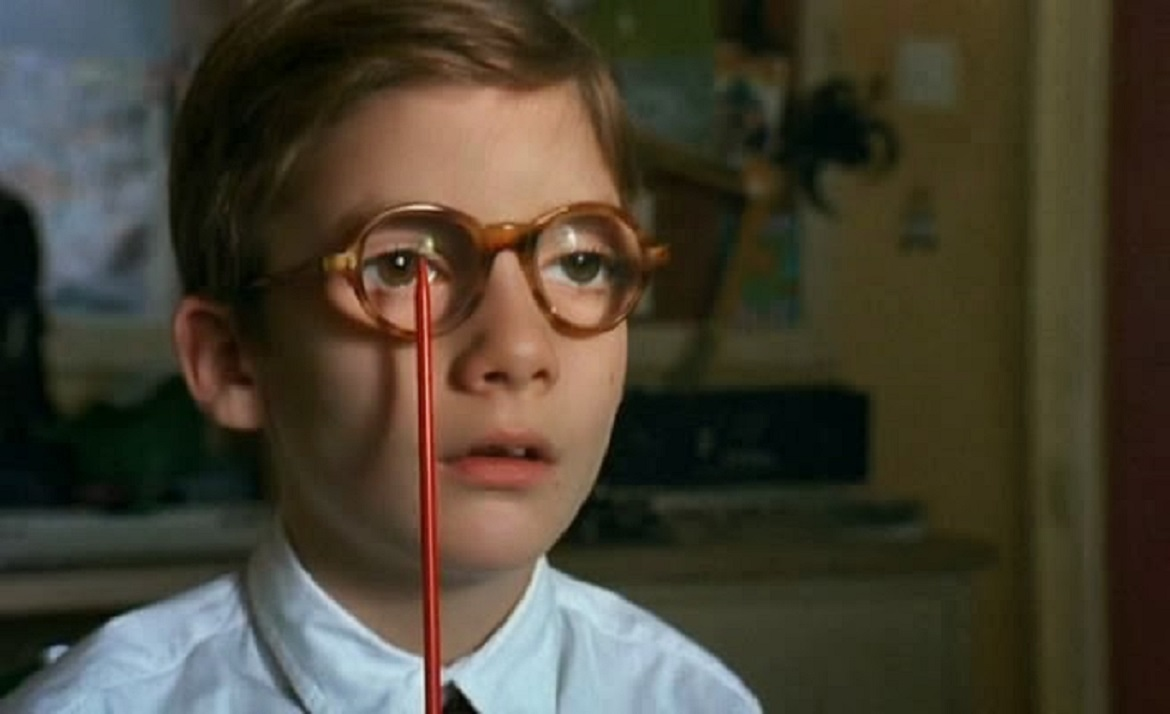 Ben Keyworth undergoes an eye exam in Afraid of the Dark (1991)