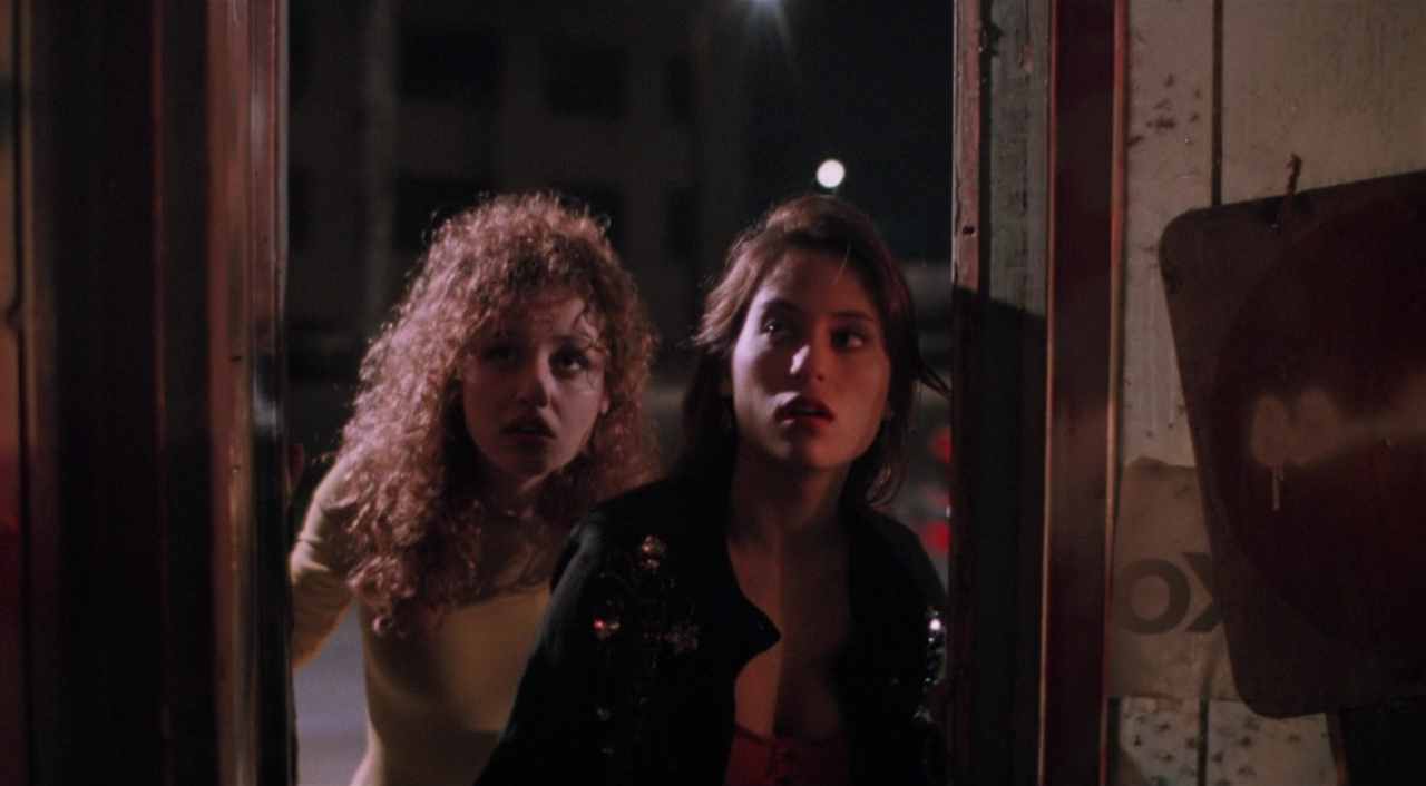 (l to r) Monique Salcido and Judie Aronson seek refuge in the A Night on the Town episode of After Midnight (1989)