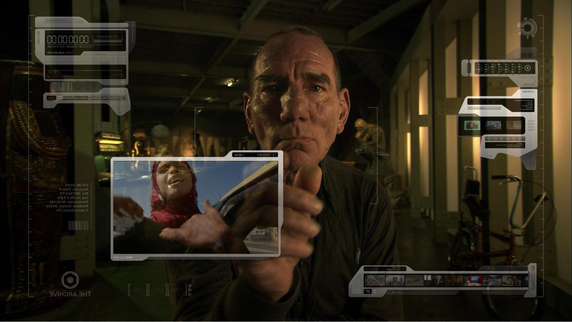 Pete Postlethwaite scans the archives in The Age of Stupid (2009)