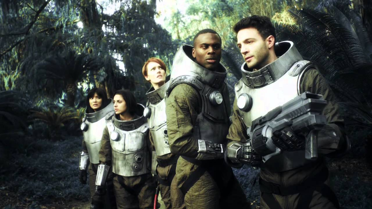 The crew explore the alien world - (l to r) Kelly Hu, Laura Alexandra Ramos, Jennifer Marshall, Nicholas Alexander and Anthony Marks in Age of Tomorrow (2014)