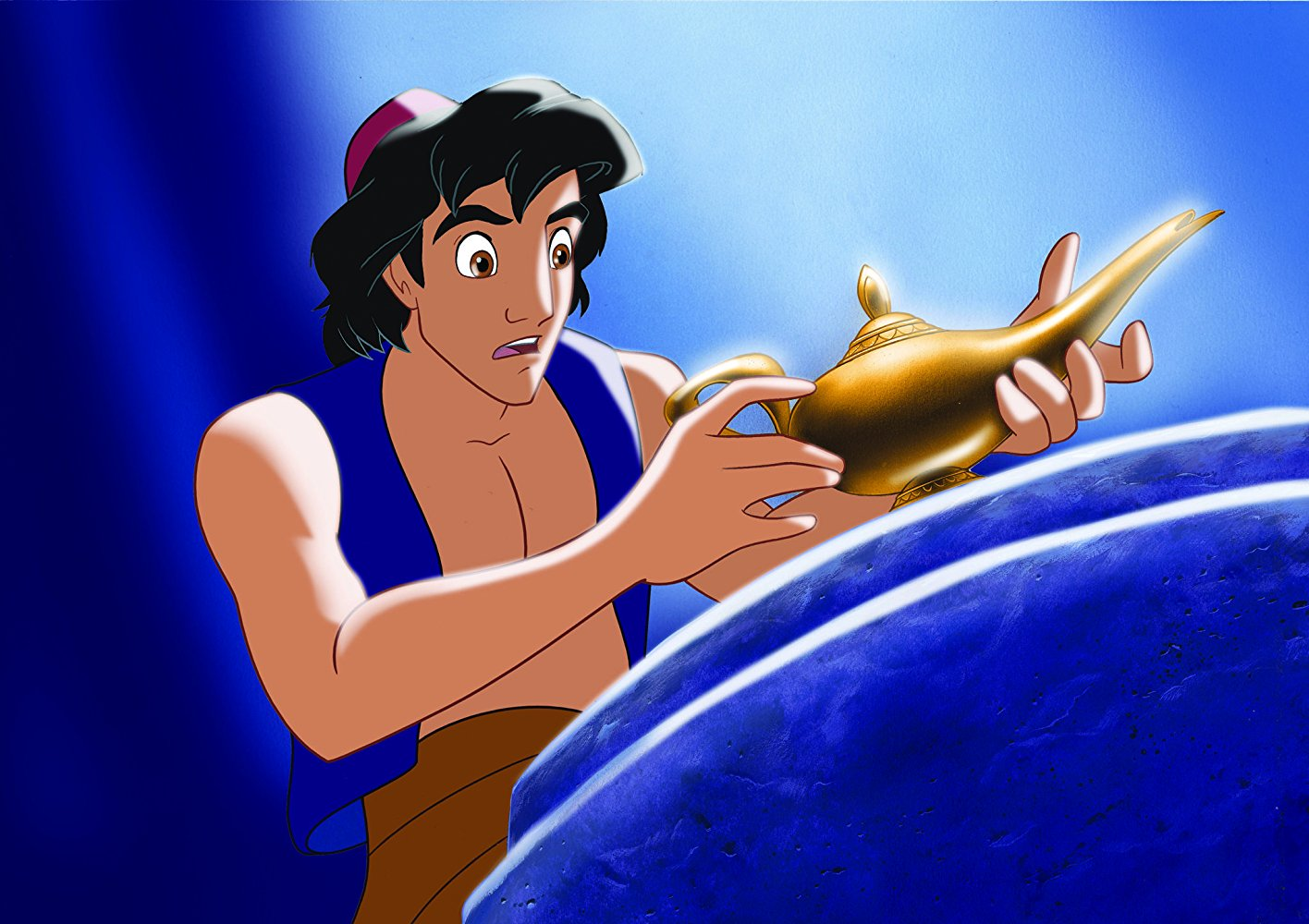 Aladdin (voiced by Scott Weinger) picks up the lamp in Aladdin (1992)