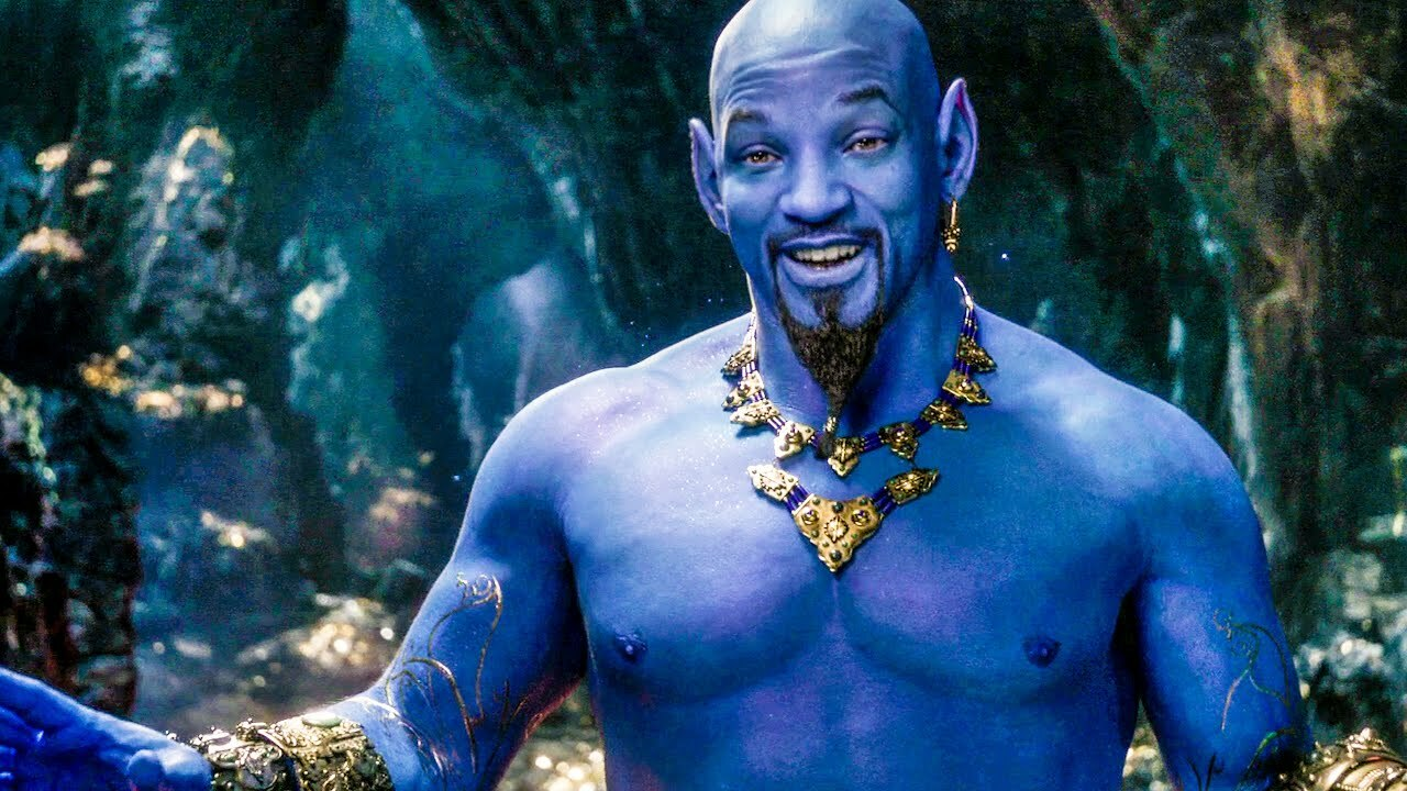 Will Smith steps into Robin Williams' shoes as the live-action equivalent of the genie in Aladdin (2019)