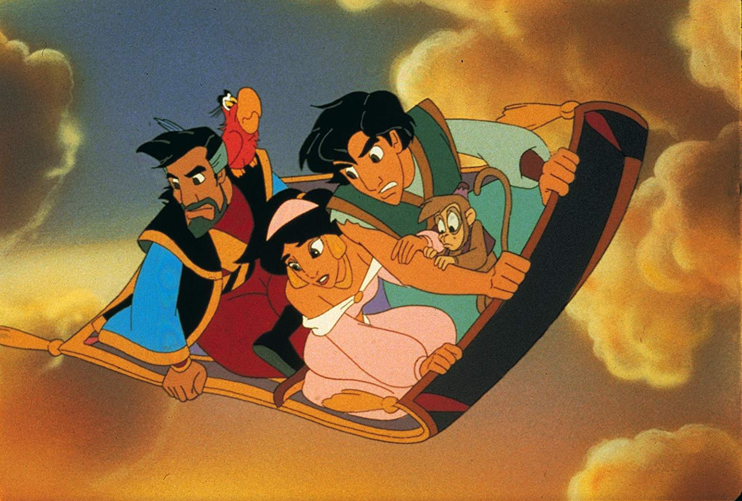 (l to r) Aladdin's father Kassim (voiced by John Rhys-Davies), Iago the parrot (voiced by Gilbert Gottfried), Jasmine (voiced by Linda Larkin), Aladdin (voiced by Scott Weinger) and Abu the monkey in Aladdin and the King of Thieves (1996)