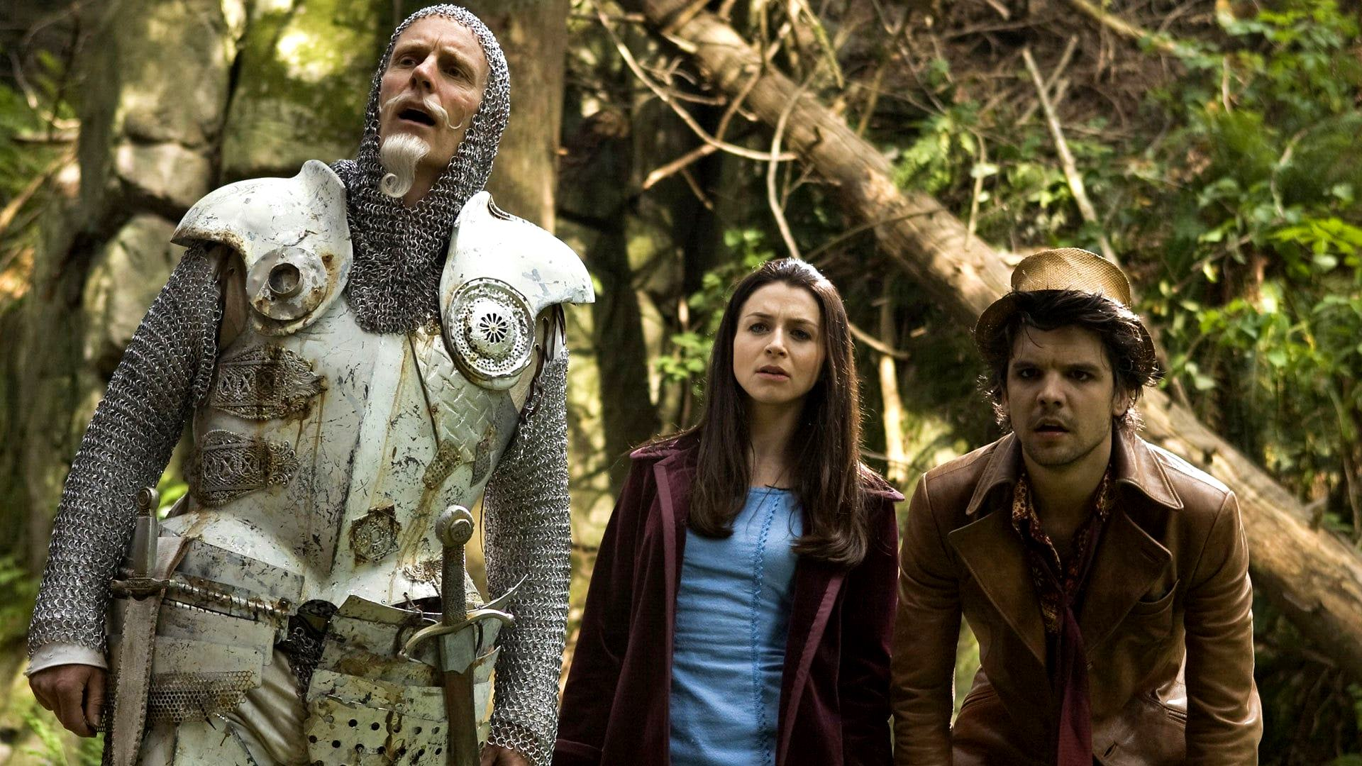 (l to r) The White Knight (Matt Frewer), Alice (Caterina Scorsone) and The Hatter (Andrew Lee Potts) in Alice (2009)