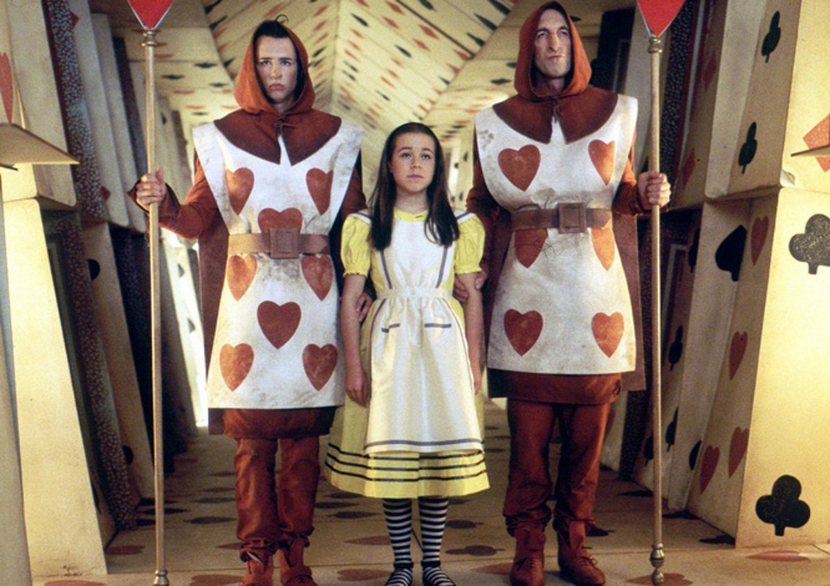 Alice (Tina Majorino) take off to see The Red Queen in Alice in Wonderland (1999)