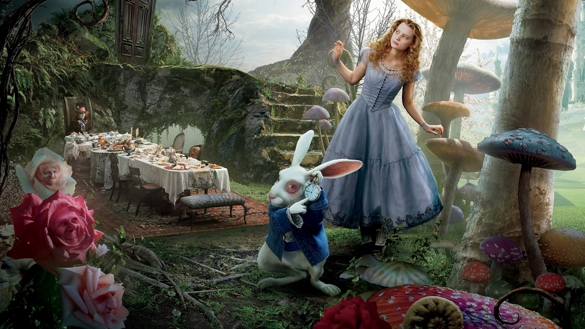 Alice (Mia Wasikoska) and the White Rabbit arrive for the Mad Hatter's tea party in Alice in Wonderland (2010)
