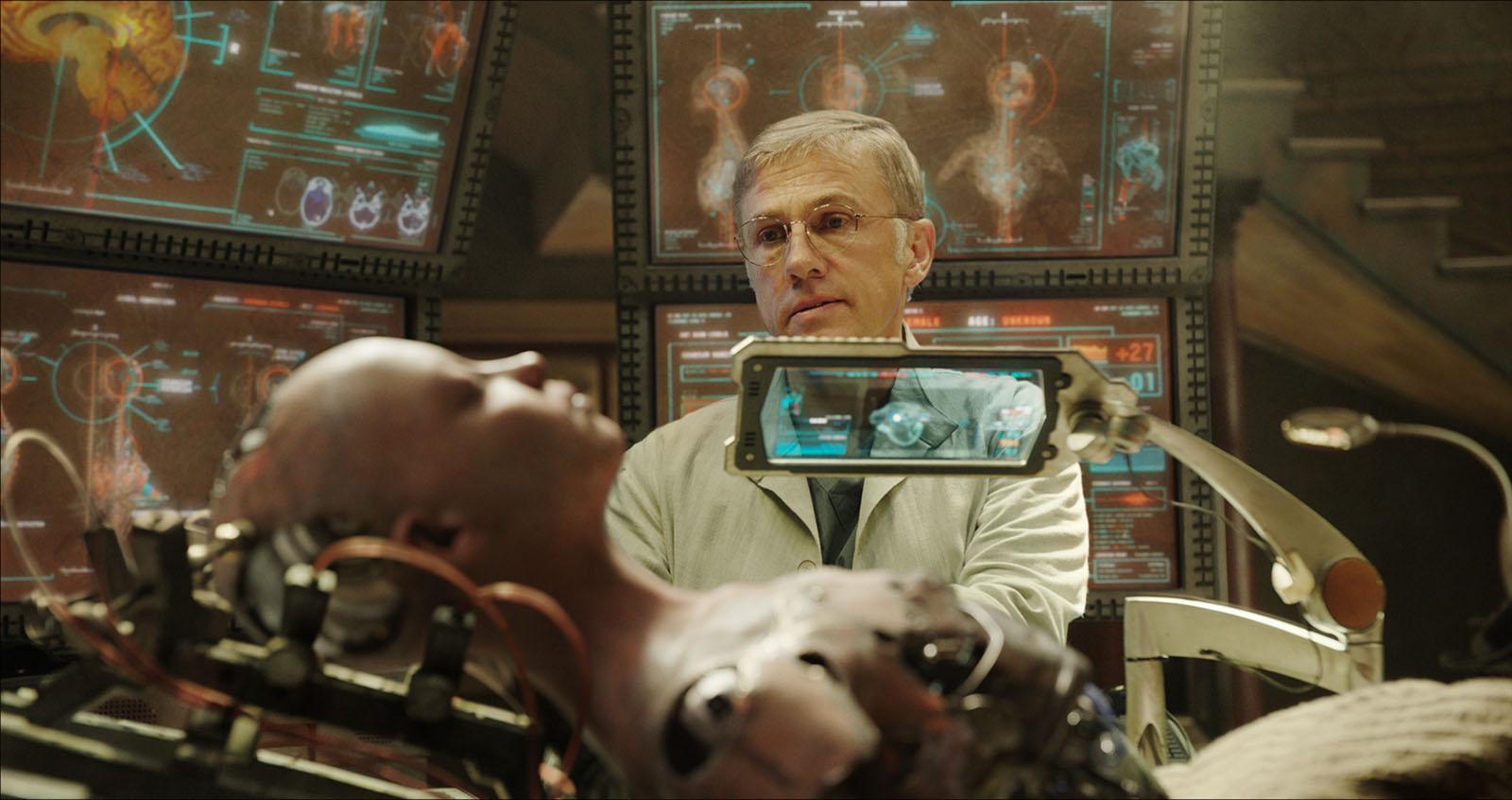 Dr Dyson Ido (Christoph Waltz) brings Alita to life in Alita: Battle Angel (2019)