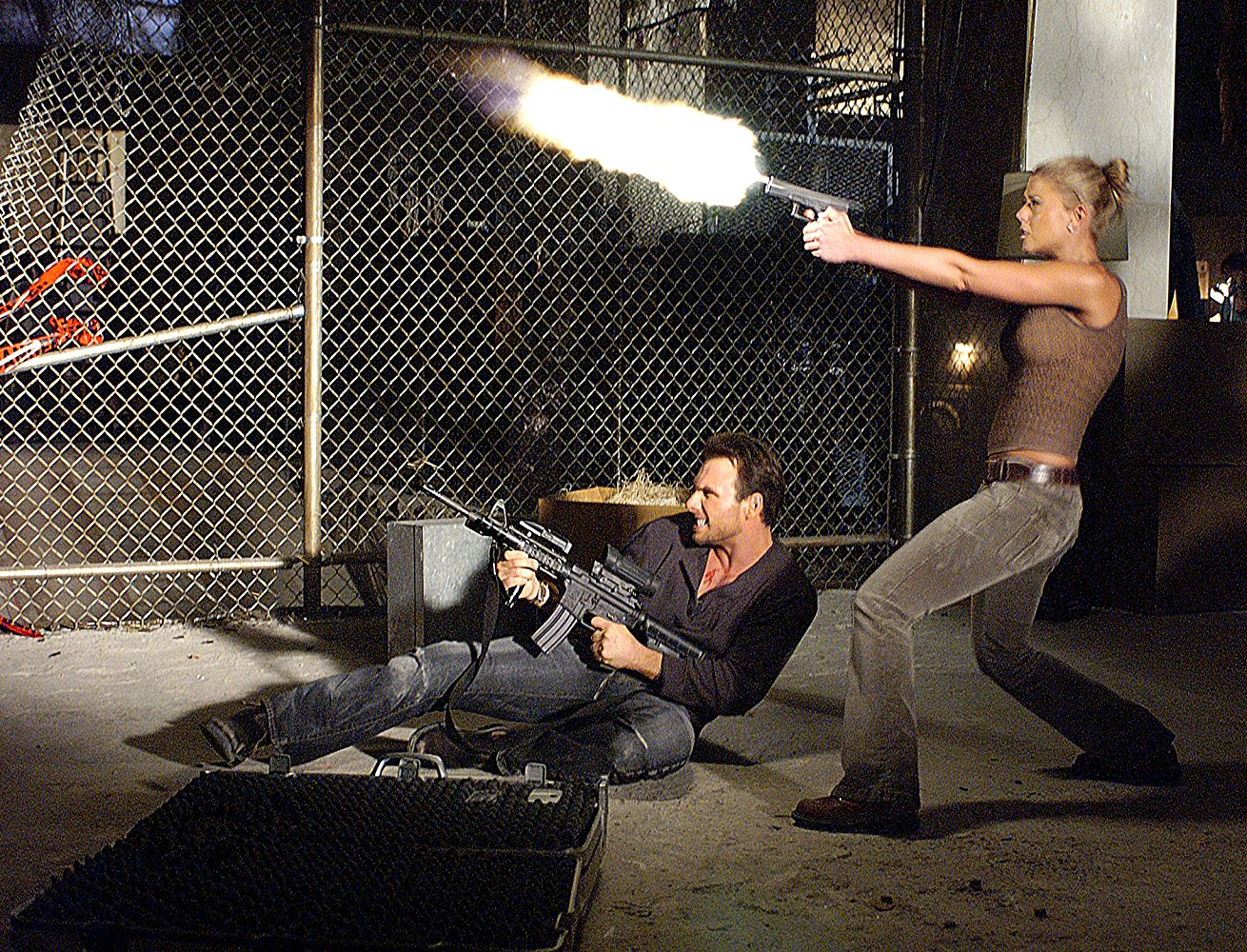 Christian Slater, Tara Reid in Alone in the Dark (2005)