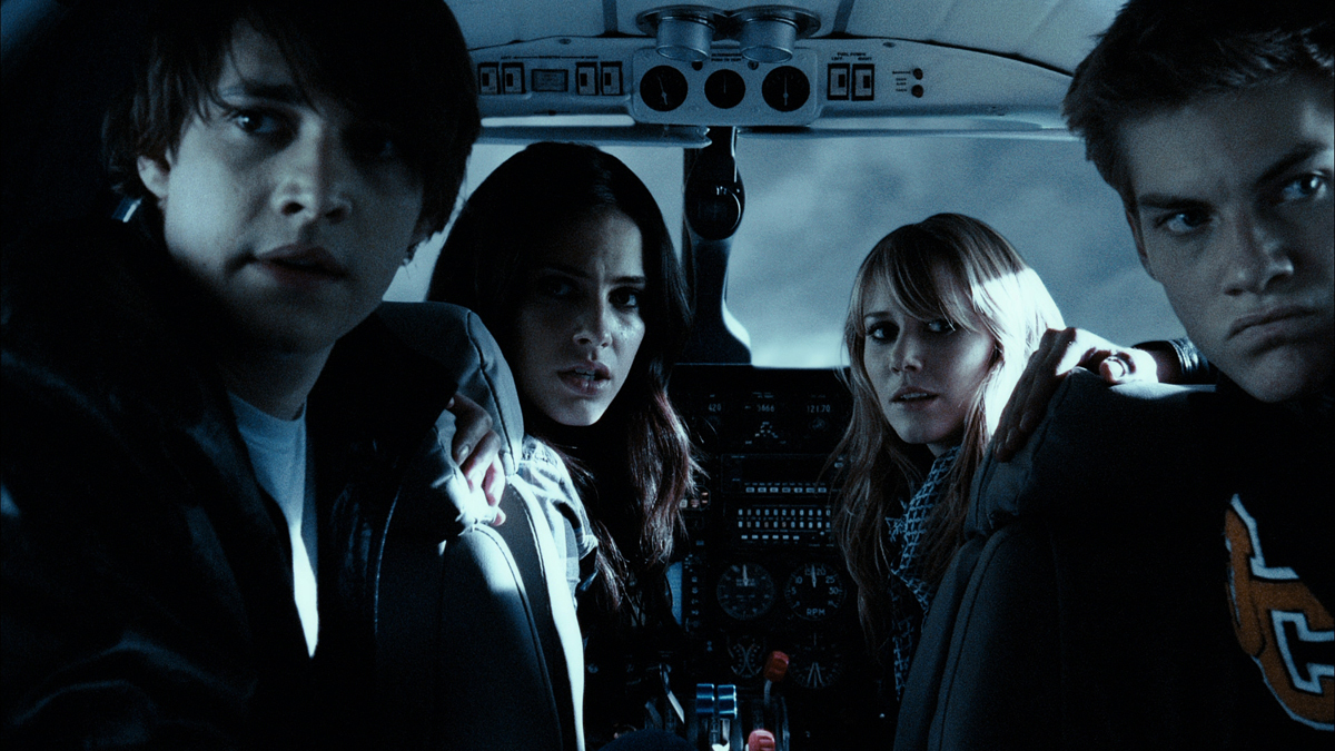 Aboard the plane - (l to r0 Ryan Donowho, Jessica Lowndes, Julianna Guill and Jake Weary in Altitude (2010)